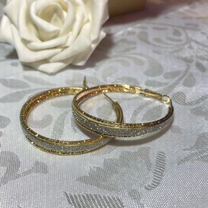 Jewelry - Diamond dust and gold large hoop earrings